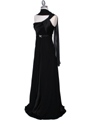 Black One Shoulder Evening Dress - Alt Image