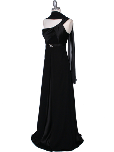 7810 Black One Shoulder Evening Dress - Black, Alt View Medium