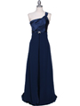 7810 Navy One Shoulder Evening Dress - Navy, Front View Thumbnail