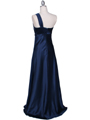 7810 Navy One Shoulder Evening Dress - Navy, Back View Thumbnail