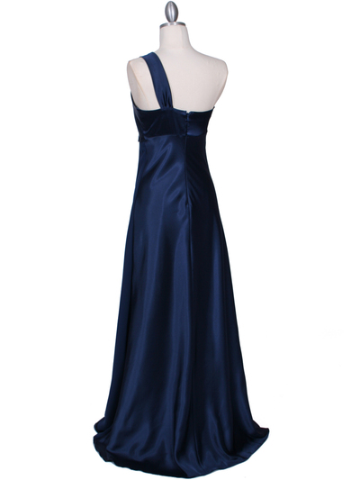7810 Navy One Shoulder Evening Dress - Navy, Back View Medium