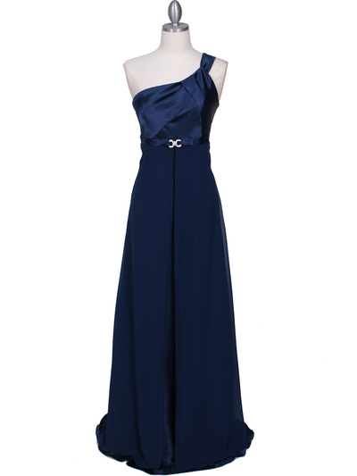 7810 Navy One Shoulder Evening Dress - Navy, Front View Medium