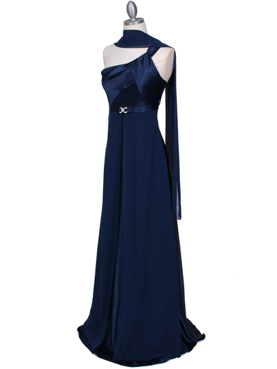 7810 Navy One Shoulder Evening Dress - Navy, Alt View Medium