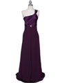7810 Plum One Shoulder Evening Dress - Plum, Front View Thumbnail