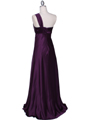 7810 Plum One Shoulder Evening Dress - Plum, Back View Thumbnail