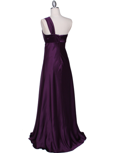 7810 Plum One Shoulder Evening Dress - Plum, Back View Medium