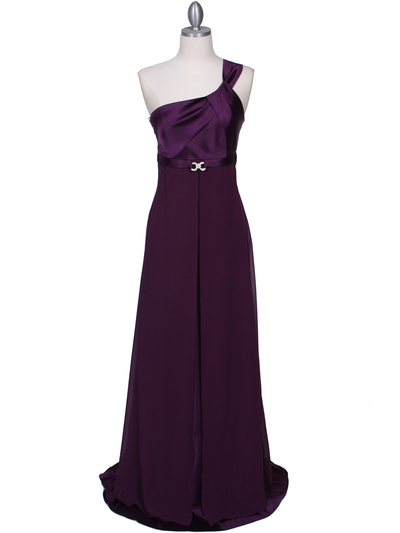 7810 Plum One Shoulder Evening Dress - Plum, Front View Medium