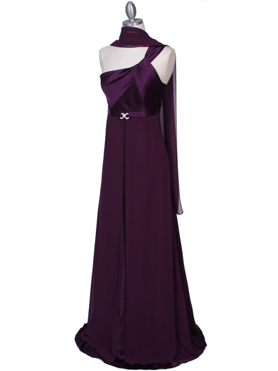 7810 Plum One Shoulder Evening Dress - Plum, Alt View Medium
