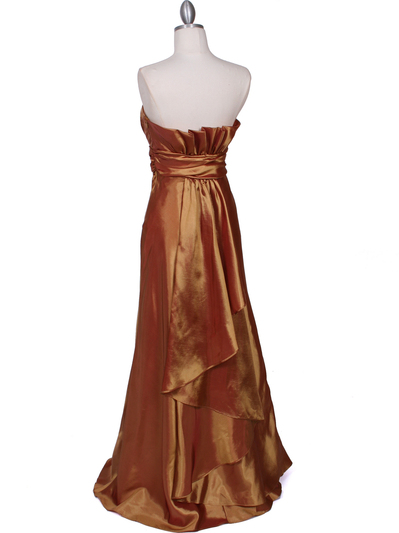 7811 Gold Tafetta Evening Dress - Gold, Back View Medium