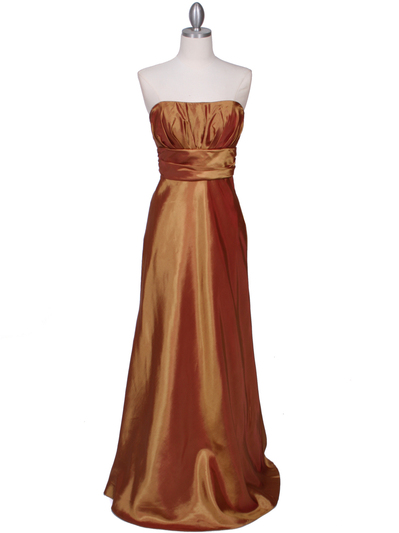 7811 Gold Tafetta Evening Dress - Gold, Front View Medium
