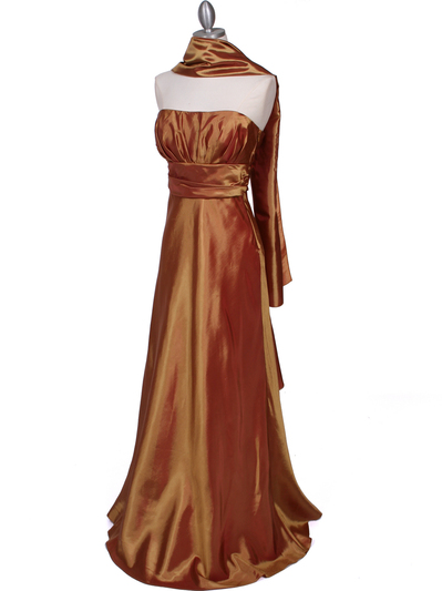 7811 Gold Tafetta Evening Dress - Gold, Alt View Medium