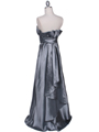 7811 Silver Tafetta Evening Dress - Silver, Back View Thumbnail