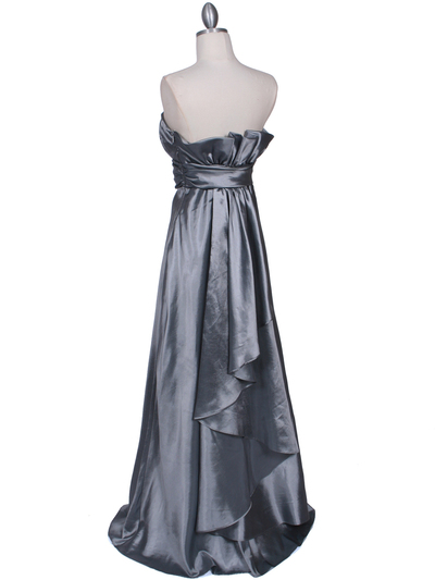 7811 Silver Tafetta Evening Dress - Silver, Back View Medium