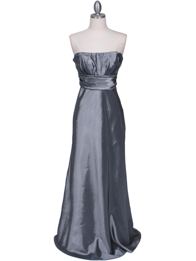 7811 Silver Tafetta Evening Dress - Silver, Front View Medium