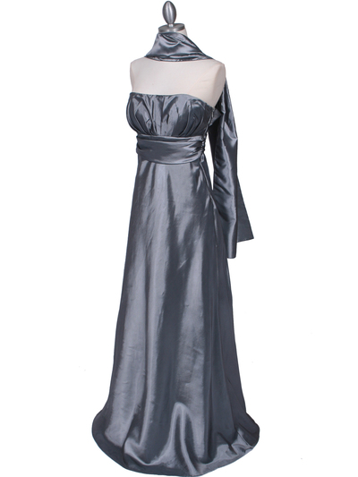 7811 Silver Tafetta Evening Dress - Silver, Alt View Medium