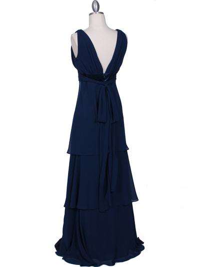 7812 Navy Evening Dress - Navy, Back View Medium