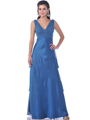 Teal Empire Waist Satin Evening Gowns - Front Image
