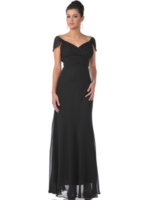 7822 Chiffon Cap Sleeves Evening Dress, Black