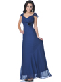 7822 Chiffon Cap Sleeves Evening Dress - Navy, Front View Thumbnail