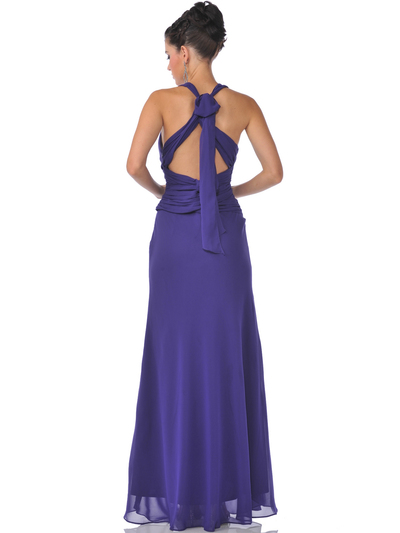 7830 Chiffon Halter Evening Dress - Purple, Back View Medium