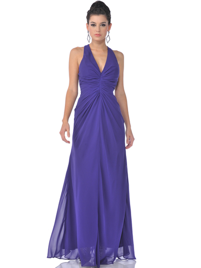 7830 Chiffon Halter Evening Dress - Purple, Front View Medium