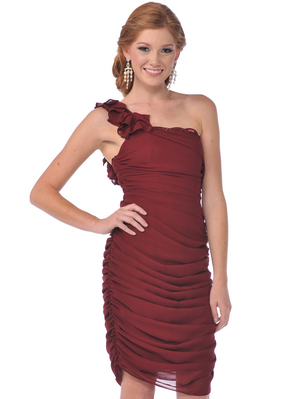 7834 One Shoulder Cocktail Dress, Burgundy