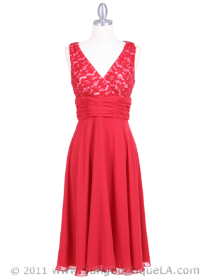 7921 Red Beaded Cocktail Dress, Red