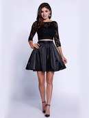 80-6166 Two-Piece Lace Top Short Cocktail Dress, Black