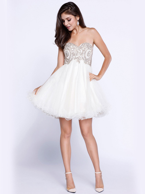 80-6212 Strapless Sweetheart Short Prom Dress, Off White