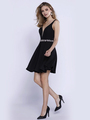 80-6241 Sleeveless Fit and Flare Cocktail Dress - Black, Front View Thumbnail