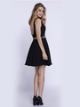 80-6241 Sleeveless Fit and Flare Cocktail Dress - Black, Back View Thumbnail