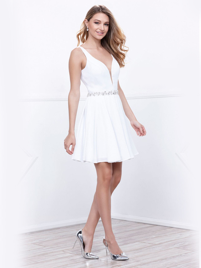 80-6241 Sleeveless Fit and Flare Cocktail Dress - White, Front View Medium