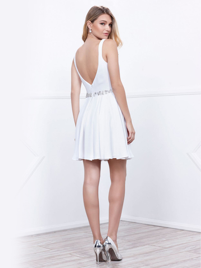 80-6241 Sleeveless Fit and Flare Cocktail Dress - White, Alt View Medium