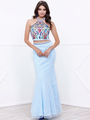 80-8262 Two-Piece Halter Top Lace Long Prom Dress - Aqua, Front View Thumbnail