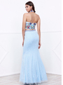 80-8262 Two-Piece Halter Top Lace Long Prom Dress - Aqua, Back View Thumbnail