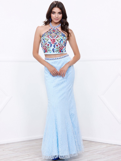 80-8262 Two-Piece Halter Top Lace Long Prom Dress - Aqua, Front View Medium