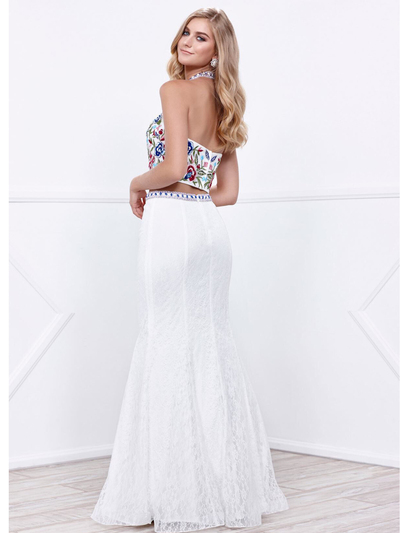 80-8262 Two-Piece Halter Top Lace Long Prom Dress - Ivory, Back View Medium