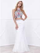 80-8262 Two-Piece Halter Top Lace Long Prom Dress, Ivory