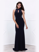 80-8278 High Neck Navy Blue Evening Dress, Navy