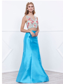 80-8287 Two-Piece Trumpet Prom Gown, Turquoise