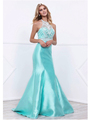 80-8296 Embellished Bodice Long Prom Dress with Mermaid Hem - Mint, Front View Thumbnail