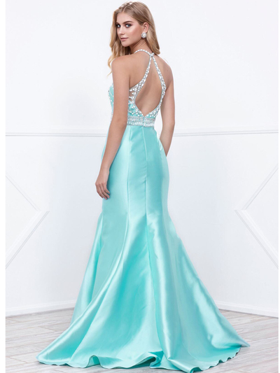 80-8296 Embellished Bodice Long Prom Dress with Mermaid Hem - Mint, Back View Medium