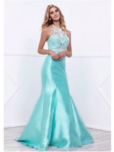 80-8296 Embellished Bodice Long Prom Dress with Mermaid Hem - Mint, Front View Medium