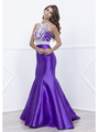 80-8296 Embellished Bodice Long Prom Dress with Mermaid Hem - Purple, Front View Thumbnail