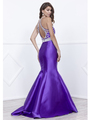 80-8296 Embellished Bodice Long Prom Dress with Mermaid Hem - Purple, Back View Thumbnail