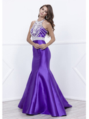80-8296 Embellished Bodice Long Prom Dress with Mermaid Hem, Purple