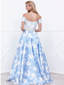80-8301 Off The Shoulder Floral Print Prom Dress - Blue, Back View Thumbnail