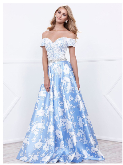 80-8301 Off The Shoulder Floral Print Prom Dress - Blue, Front View Medium
