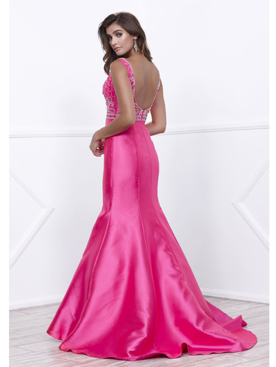 80-8307 V-Neck Prom Dress with Mermaid Hem - Fuchsia, Back View Medium