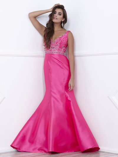 80-8307 V-Neck Prom Dress with Mermaid Hem - Fuchsia, Front View Medium